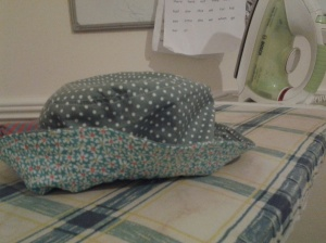 One girly hat made from scraps...