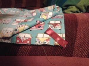I put the folded ribbon loop at a 45○ angle