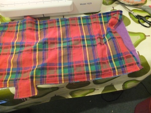 lining sewn to main bag (right sides together) around the outside, leaving the front top edge unsewn (shown on right)