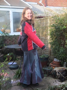 Upcycled trousers skirt