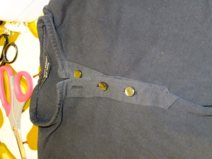 Fudged placket with new button holes and buttons