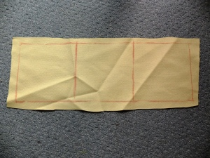 basic cube pattern piece, 3 squares long by 1 wide, plus seam allowance, cut 2.