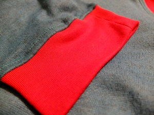 Contrast cuff action plus hold the seam allowance down twin needle topstitching