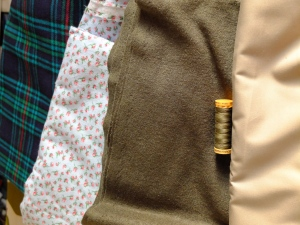 Tartan brushed cotton, floral brushed cotton, boiled wool and some khaki twilly stuff