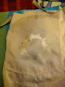 Back pocket cog detail and topstitching