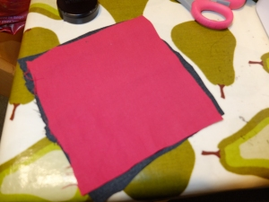 My oh so accurate fabric cutting - all ready to get stuck in to the mend now