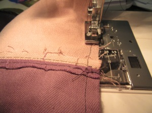 """""""overlocking"""" the side seams (I suppose I could've tried to press them and topstitch them like the others but life's too short)"""