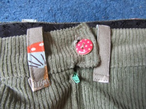 waistband, button, beltloops and zip