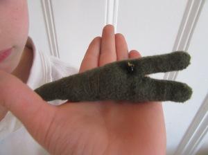 The boy made a crocodile