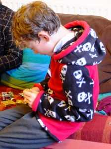 too busy opening presents to pose