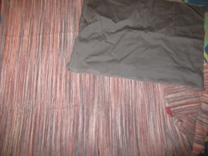 "approx 30""/76cm deep by 48""/123cm wide horizontal striped silk suiting and 16""/42cm x 49""/125cm grey cotton sateen"