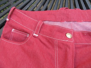 She got the raspberry stretch denim from Minerva craft after a tip off on