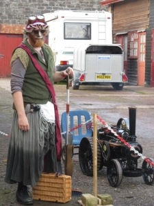 Issy Ahman inspects a model traction engine